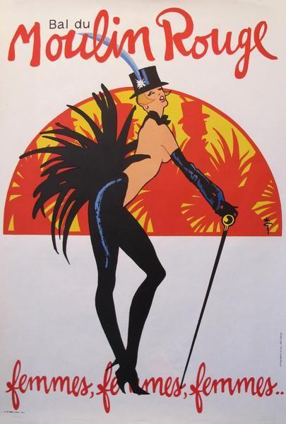 1980s Vintage French Poster, Bal du Moulin Rouge, Femmes Femmes Femmes - Rene Gruau