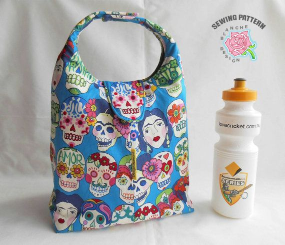 Insulated Lunch Bag PDF Pattern, According to your choice of the options for a handle, closure and size, 8 different designs are possible. This pattern includes two different sizes and two different ways for a Velcro closure and two ways of making a handle with or without Velcro.