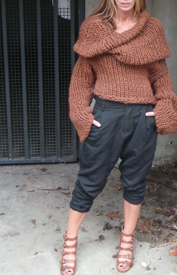 Hooded brown bronze chunky sloppy sweater