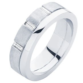 Gents wedding ring with baguette diamonds and a contrasting finish
