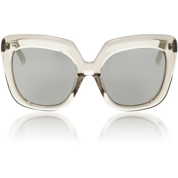 Linda Farrow Grey Lucite Sunglasses found on Polyvore featuring accessories, eyewear, sunglasses, glasses, sunnies, clear, grey glasses, clear eyewear, linda farrow eyewear and linda farrow
