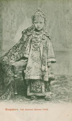 Michael Backman Ltd - Asian & Islamic Jewellery Postcard showing Straits chinese girl Singapore ca 1910