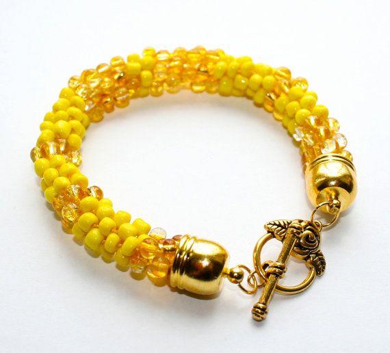 Yellow Beaded kumihimo bracelet bead weaving by EmmaEmJD on Etsy, £14.44
