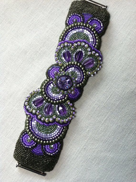 Bead Embroidery Bracelet. Fuschia. Green. Purple. Bead Embroidery. Jewelry. Cuff. Bead Embroidery Jewelry. on Etsy, $150.00