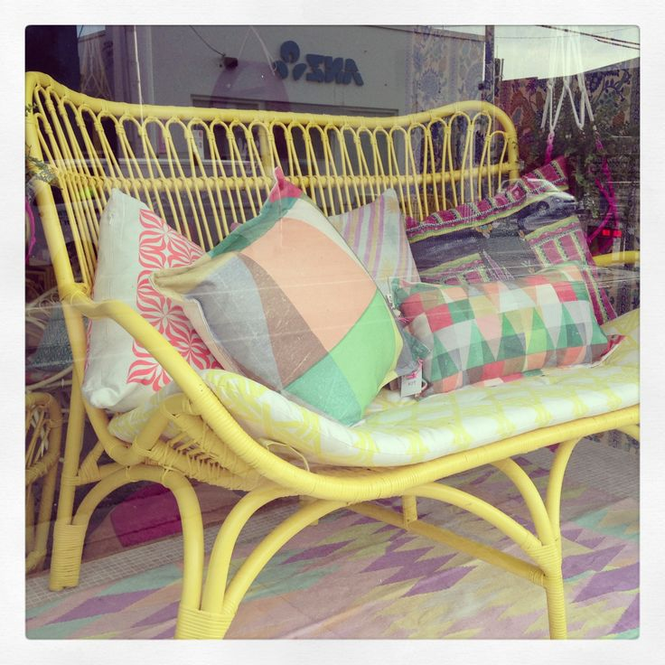 Our Lemon Slouch Couch Enjoying Some Sun!