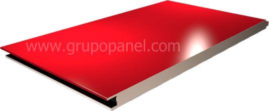 Panel arquitectónico, terminación cara lisa,en acero prepintado, y núcleo inyectado en poliuretano (PUR), o poliisocianurato (PIR).