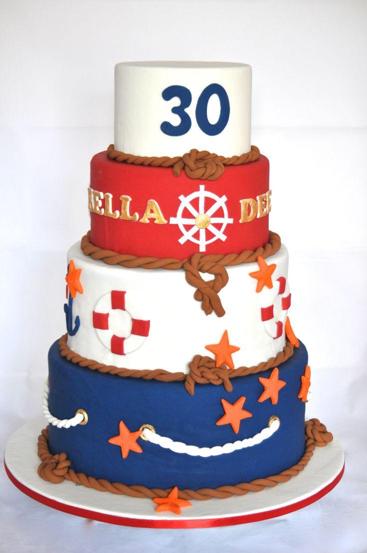 Nautical / Sailor theme 30th birthday cake