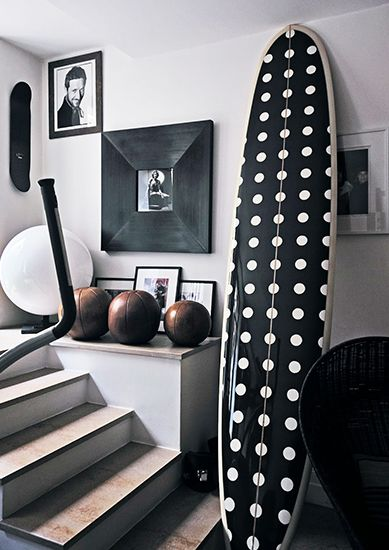 21 Homes That Prove Surf Is Chic // fashion designer homes // surfboards as decorIvan Terestchenko, Polka Dots, Chic, Black And White, Surfboard, Interiors, Fashion Design, Surf Boards, Fashion Trends