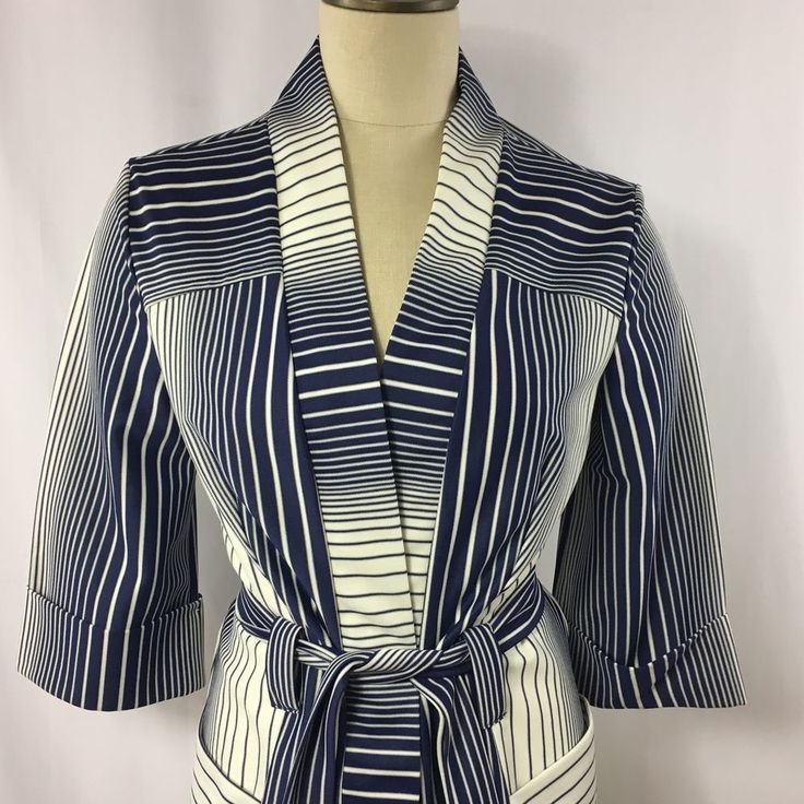 Vintage Navy Blue and White Cardigan Top Belted Nautical Large 3/4 Sleeve  #Unbranded #Wrap