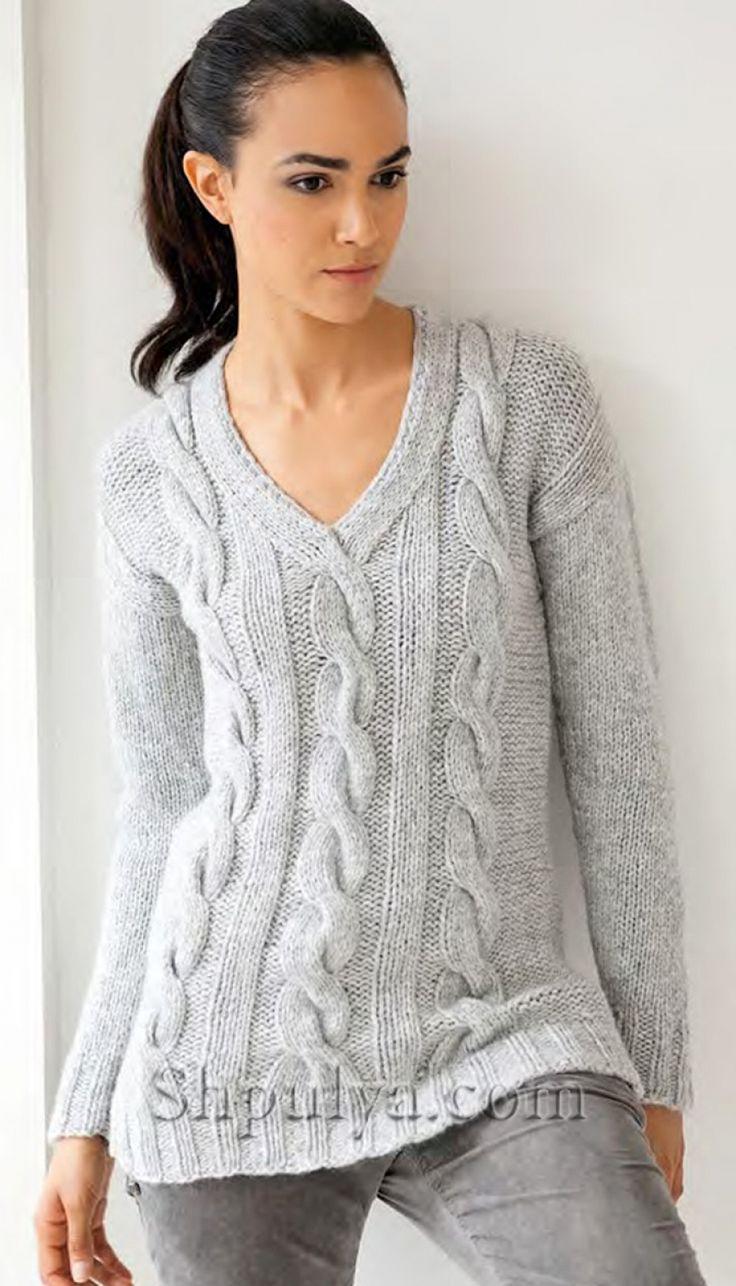 Серый пуловер с косами из мериносовой шерсти спицами
