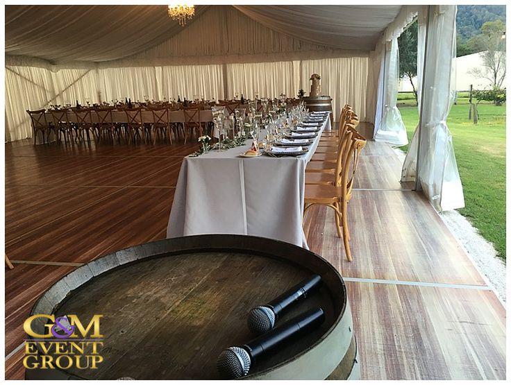O'Reillys Canungra Valley Vineyards Wedding    Bridal Table    Country Wedding Table Setting #weddingentertainment #countrywedding #bridaltable #vineyardwedding #weddingdj #elelgant