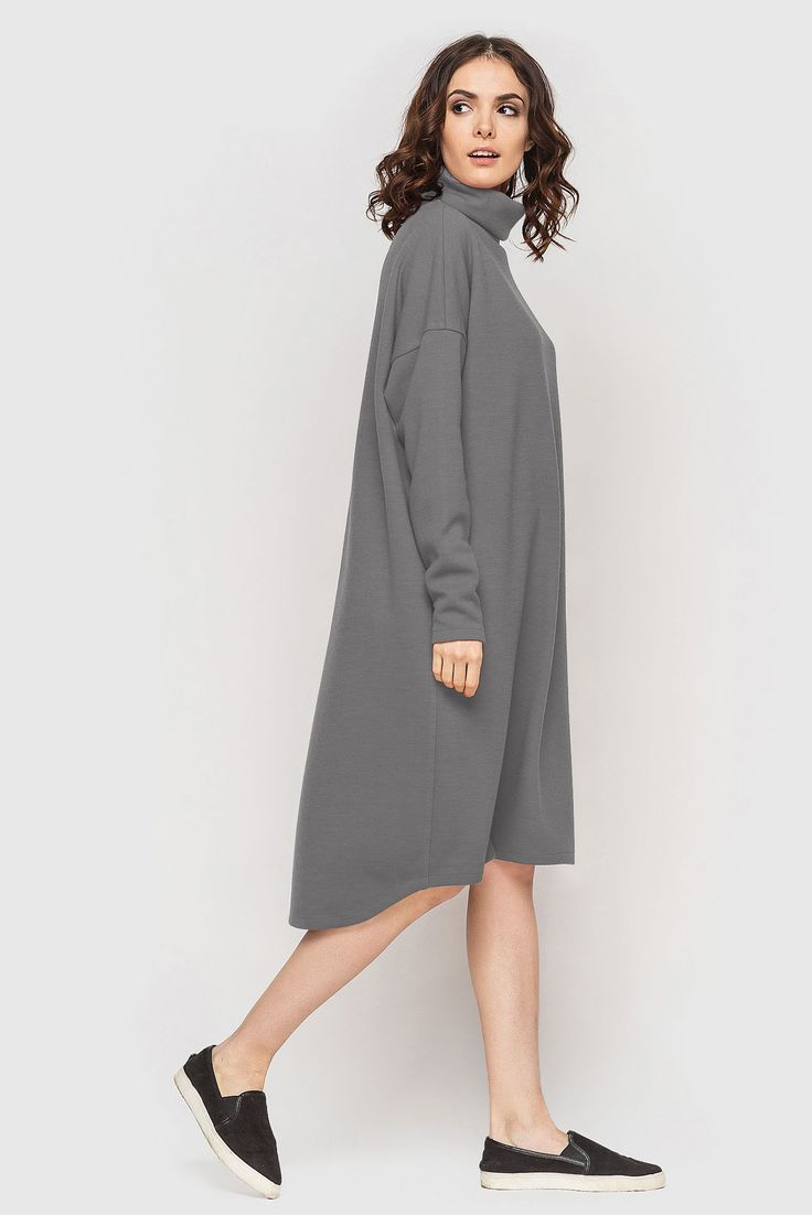 Light-grey turtleneck asymmetric knitted midi dress 36$. The creative people appreciate the originality, and it means that #asymmetric turtleneck dress is a cool variant. The #dress was made to help you make perceptible in the crowd, despite on light-grey colour which is neutral and at the same time unic. This outfit provides freedom during wearing and is very comfortable thanks to pleasant #knit fabric. #VOVK