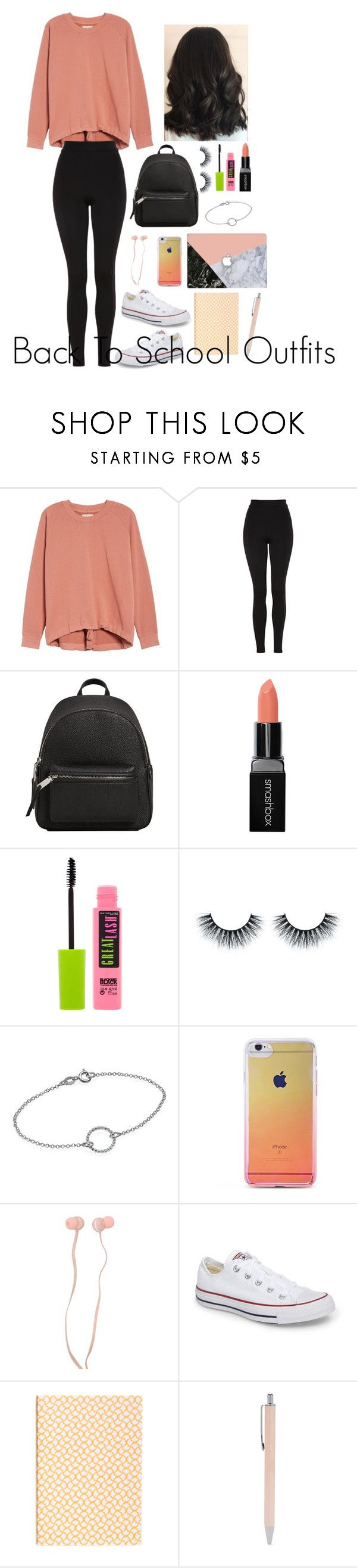 """""""Back to School Outfits #3"""" by gussied-up ❤ liked on Polyvore featuring Madewell, Topshop, MANGO, Smashbox, Maybelline, Forever 21 and Converse"""