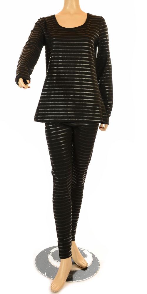 idaretobe.com Hebbeding Black On Black Stripe Lagenlook Jersey T-Shirt - Winter…