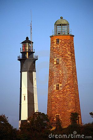 Cape Henry Lighthouses, Chesapeake Bay -