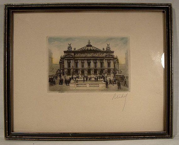 Reidel Framed Paris Opera House Engraving 1920s to 1940