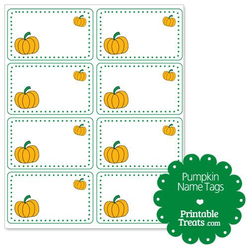 pumpkin name tags from printabletreatscom - Halloween Name Ideas
