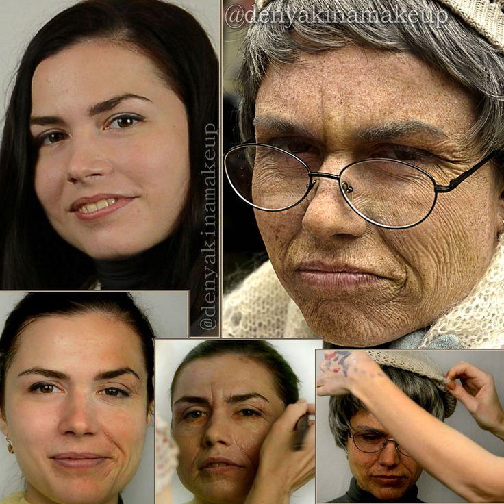 Эффект старения кожи, легко получить используя латекс. Латек-это основа  натурального каучука, концентрированный и стабилизированный млечный сок бразильской гевеи. Лучше использовать прозрачный латекс , он более ровно ложиться пленкой на лицо.  Метод выполнения основан на  растягивании кожи,нанесения на нее латекса и сушки феном. Глубина морщин зависит от пластичности своей кожи , чем сильнее растягивается тем проще сделать морщины.