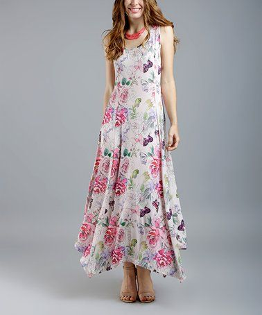 689d2e415 White & Pink Floral Sleeveless Handkerchief Dress - Women & Plus  #zulilyfinds