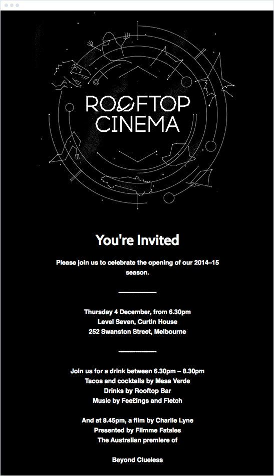 23 best event invitation emails images on pinterest best email the best email marketing campaigns of 2015 rooftop cinema emaileventinvitations stopboris Gallery