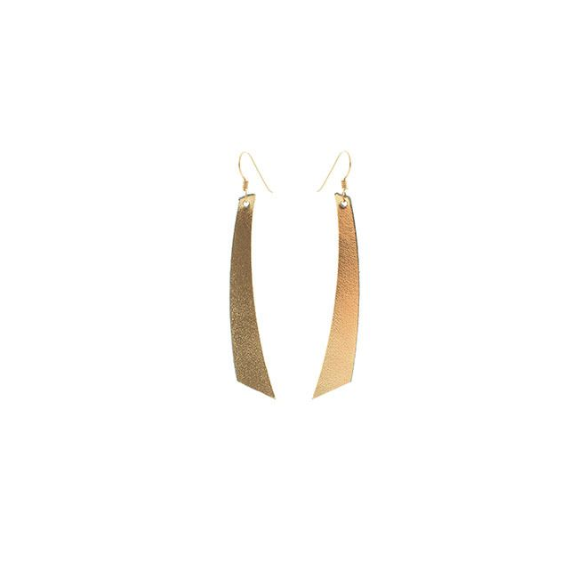 N&S Signature Gold Accent Leather Earrings - Nickel & Suede