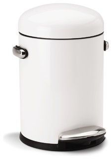 Retro Step Can, White Steel - modern - kitchen trash cans - by simplehuman