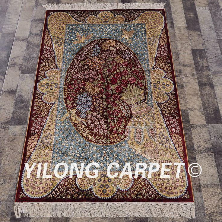 Yilong 3'x5' Red flower hand knotted silk …