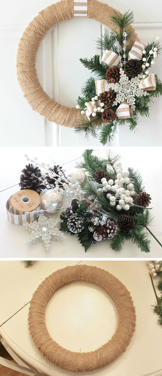 Burlap Christmas Wreath Tutorial | DIY Christmas Wreaths for Front Door | Easy Christmas Decorating Ideas 2014