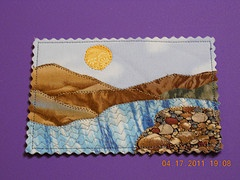 landscape fabric postcard I made for an exchange
