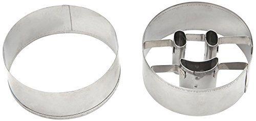Dexam Lot de 2 emporte-pièces ronds en métal pour cookies Motif smiley: 2emporte-pièces pour biscuits en aluminium, 1neutre + 1avec…