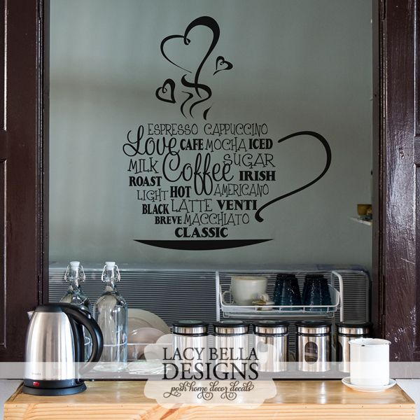 Quot Coffee Cup Collage Quot Vinyl Wall Decal Kitchen Home Decor