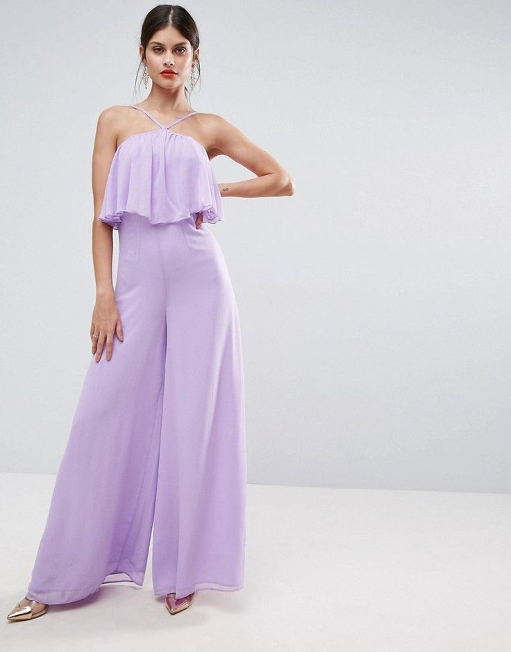 ASOS Jumpsuit in Crinkle with Wide Leg and Halter Neck - Purple