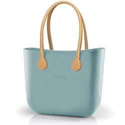 O bag classic in powder blue with natural long real leather handles