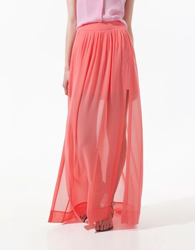 coral maxi skirt style fashion coral pink