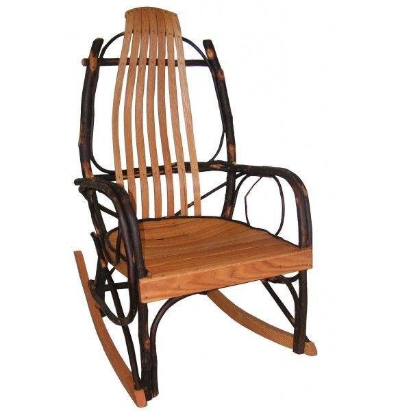 Amish Rustic Hickory And Oak Rocking Chair Quick Ship