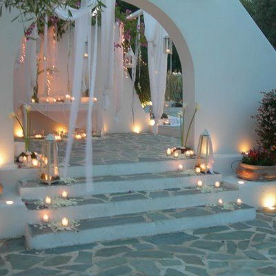 Line the outdoor walkways with candles...