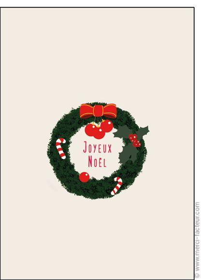 """#Carte #Noël """" #JoyeuxNoël """" dans une couronne pour envoyer par La Poste, sur Merci-Facteur !"""