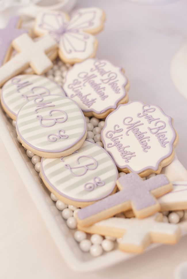 Lavender and White First Communion Cookies