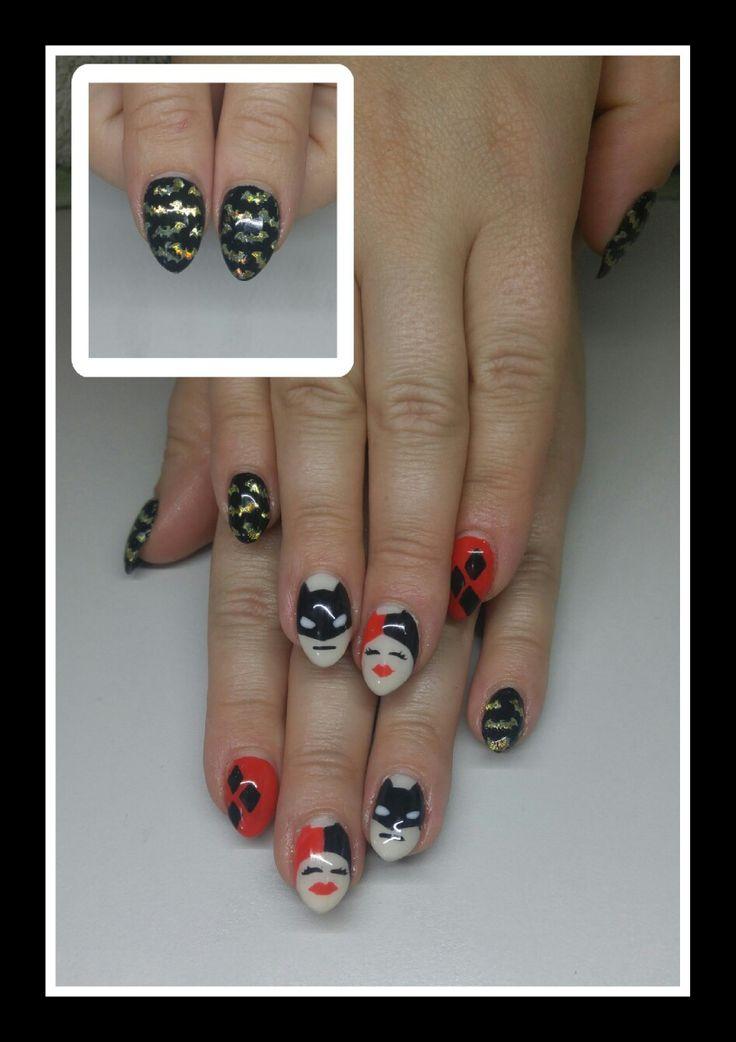 Batman, harley quinn, diamonds and holo bat nails