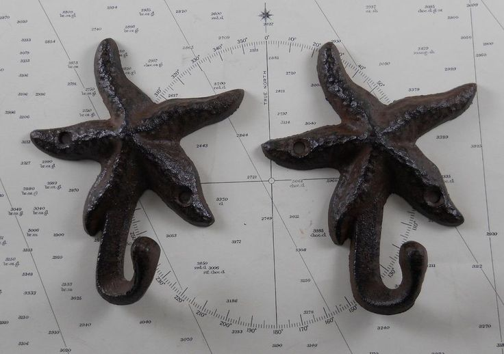 Set of 2 Iron Starfish Hook Coat Hooks Hat Hook Nautical Decor Wall Decor