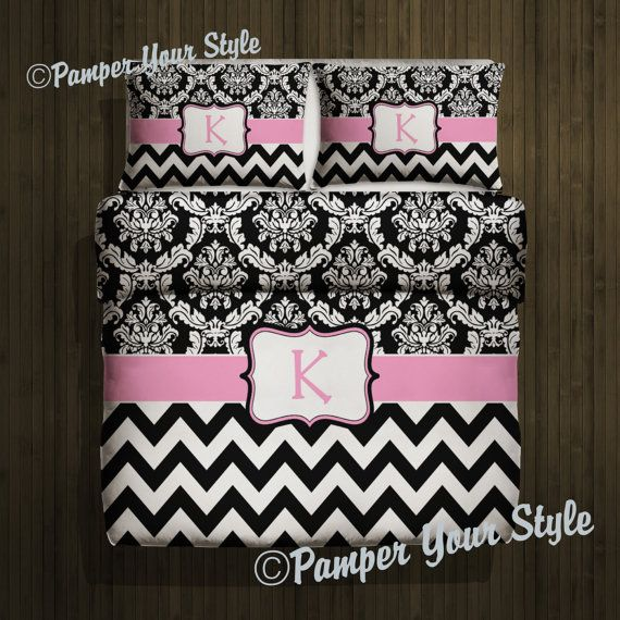 Custom Damask and Chevron Duvet Cover and 2 Matching Shams - Any Your Name or Monogram- Personalized or Monogrammed - Any Size or Color