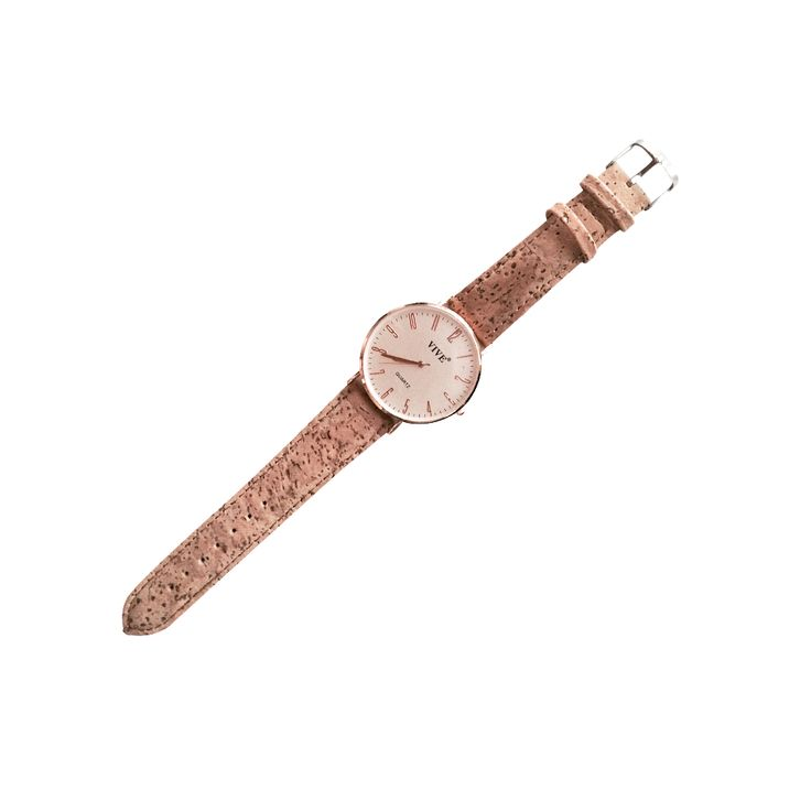 Wrist watch with cork wristband