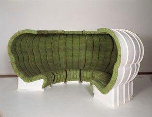 italie, radical design, superstudio, canapé bazaar/vert/acoler/ensemble/rasembler