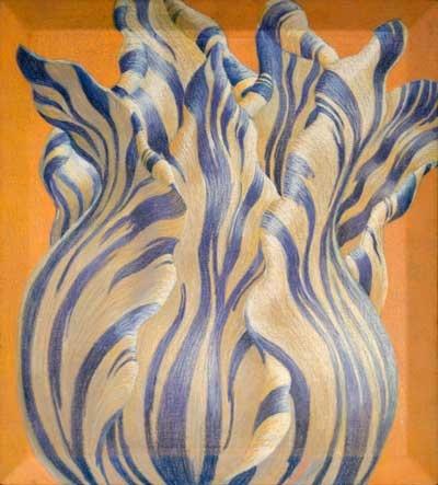 Addy Coumou - Oranje Blanje Bleu.    Tulp met oranje achtergrond, uitgevoerd in pastelkrijt.