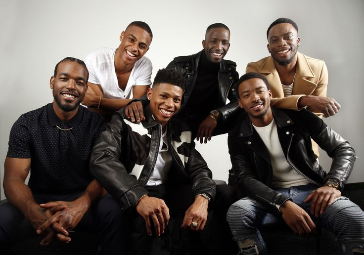 The handsome cast of the New Edition Story 🙌🏽❤️ From left: Luke James, Keith Powers, Bryshere Gray, Elijah Kelley, Algee Smith, and Woody McClain