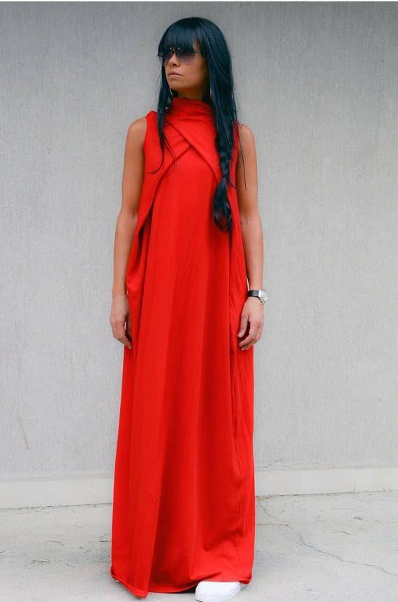 b3f51f1431c4 Maternity Soft Red Long Caftan Maxi Dress with Full Length ...