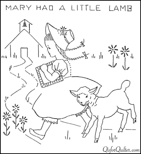 nursery rhyme embroidery mary had a little lamb