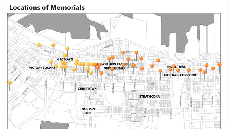 The Locations of the Living Memorial Stones in Vancouver.