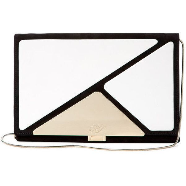 Roger Vivier Prismick Envelope Convertible Clutch ($1,599) ❤ liked on Polyvore featuring bags, handbags, clutches, real leather purses, pink purse, leather purse, real leather handbags and flap handbags
