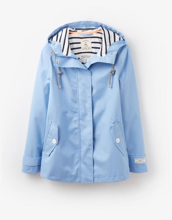 Coast Haze Blue Waterproof Hooded Jacket | Joules UK